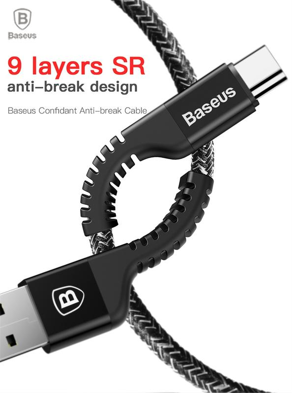 Baseus 9 Laylers Anti-break 2.4A Type C Weave Yarn Data Cable - Фото 8