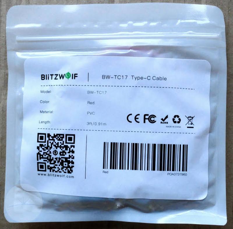 BlitzWolf® BW-TC17 3A USB-PD для передачи данных Type C-Type C - Фото 4