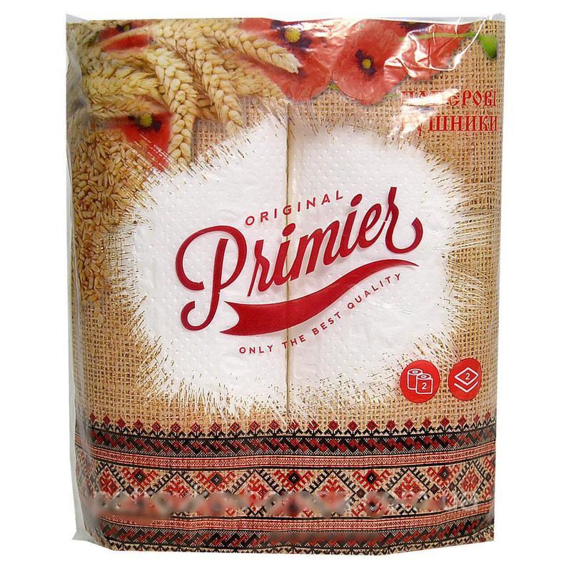 """Полотенца бумажные отрывные в рулоне """"Primier"""" 2-х слойные"""