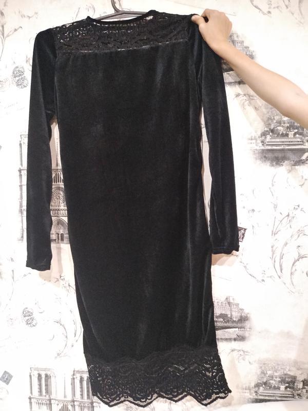 Супер платье, велюр, чёрное р. 46, 48 - Фото 2