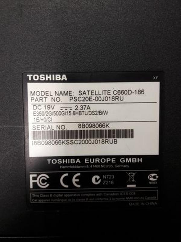 Ноутбук TOSCHIBA satellite C660 - Фото 3