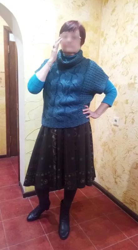 Модный пуловер крупной вязки, размер 48-50 - Фото 4