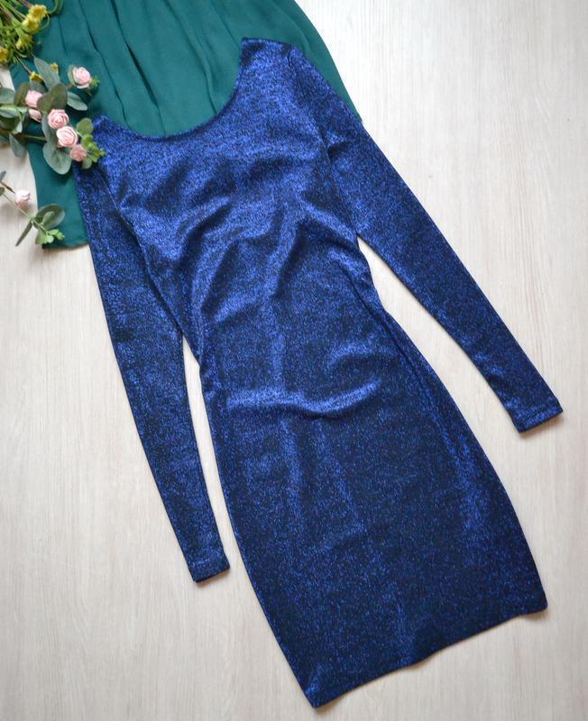 Эффектное платье с люрексом длинный рукав h&m