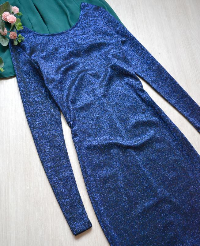 Эффектное платье с люрексом длинный рукав h&m - Фото 2