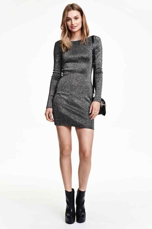 Эффектное платье с люрексом длинный рукав h&m - Фото 3
