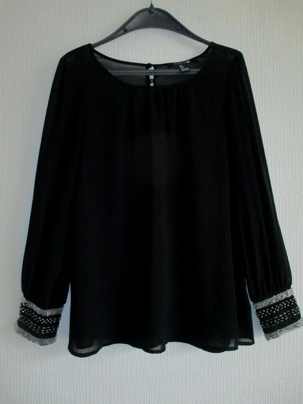 Нарядная шифоновая блуза рукава украшены бисером forever 21