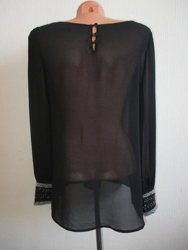 Нарядная шифоновая блуза рукава украшены бисером forever 21 - Фото 4