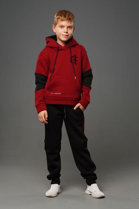 Лукас - теплый костюм с начесом, цвет бордовый
