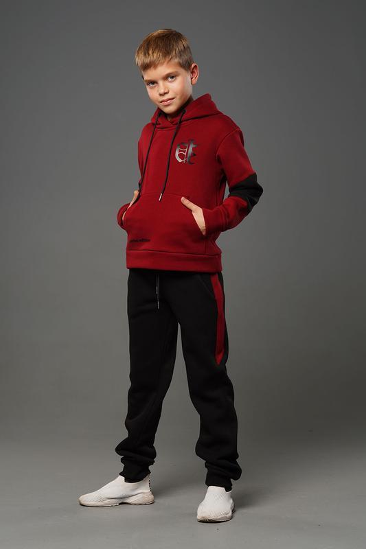 Лукас - теплый костюм с начесом, цвет бордовый - Фото 2