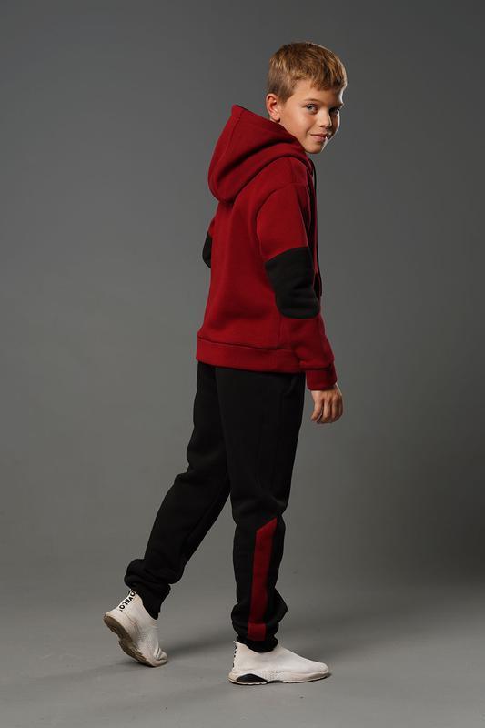 Лукас - теплый костюм с начесом, цвет бордовый - Фото 3