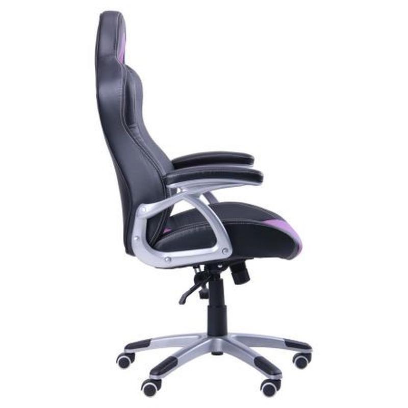Кресло компьютерное геймерское, черное с сиреневыми вставками - Фото 3