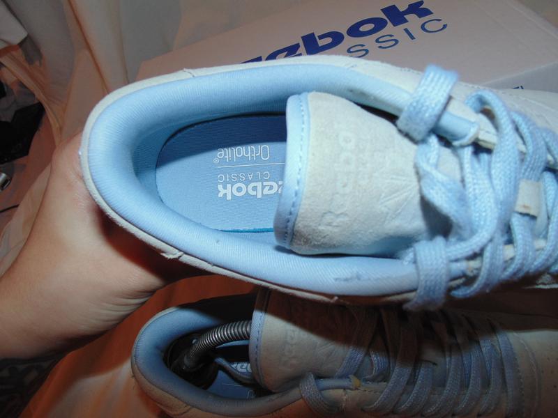 Кроссовки reebok оригинал кожа замша цвет нежно-голубой новые ... - Фото 9