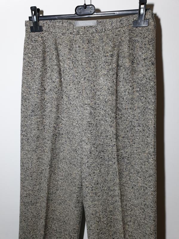 Шерстяные брюки с высокой посадкой прямые max mara - Фото 3