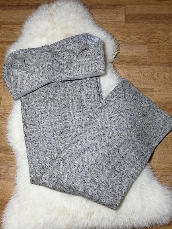 Шерстяные брюки с высокой посадкой прямые max mara - Фото 7