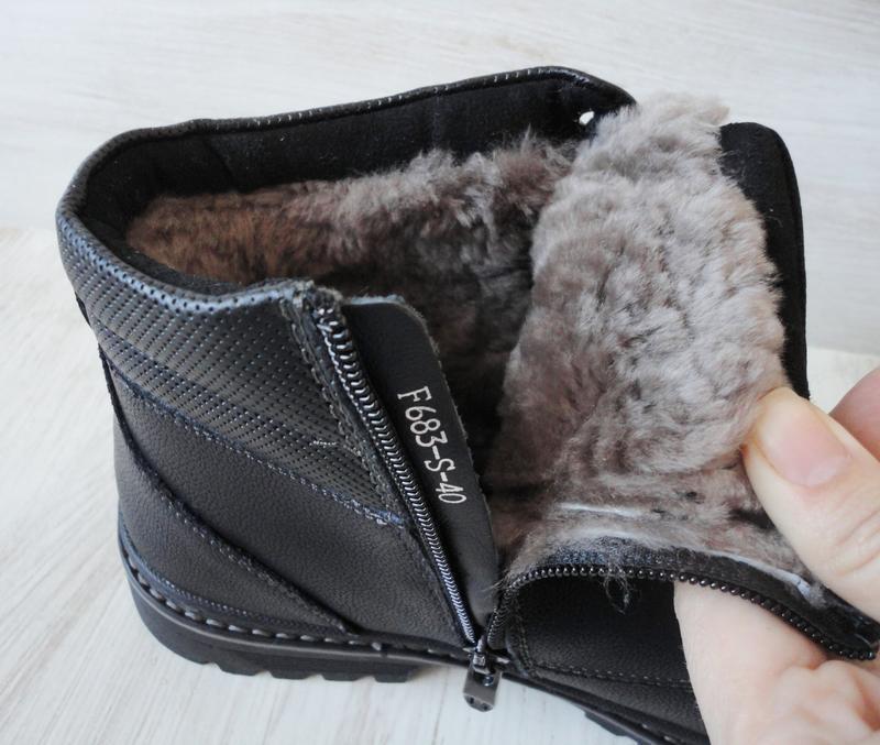 Зимние ботинки, натуральная кожа, цигейка - Фото 4