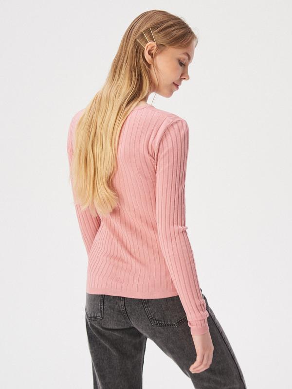 Новая облегающая розовая кофта пудра свитер джемпер польша бел... - Фото 4