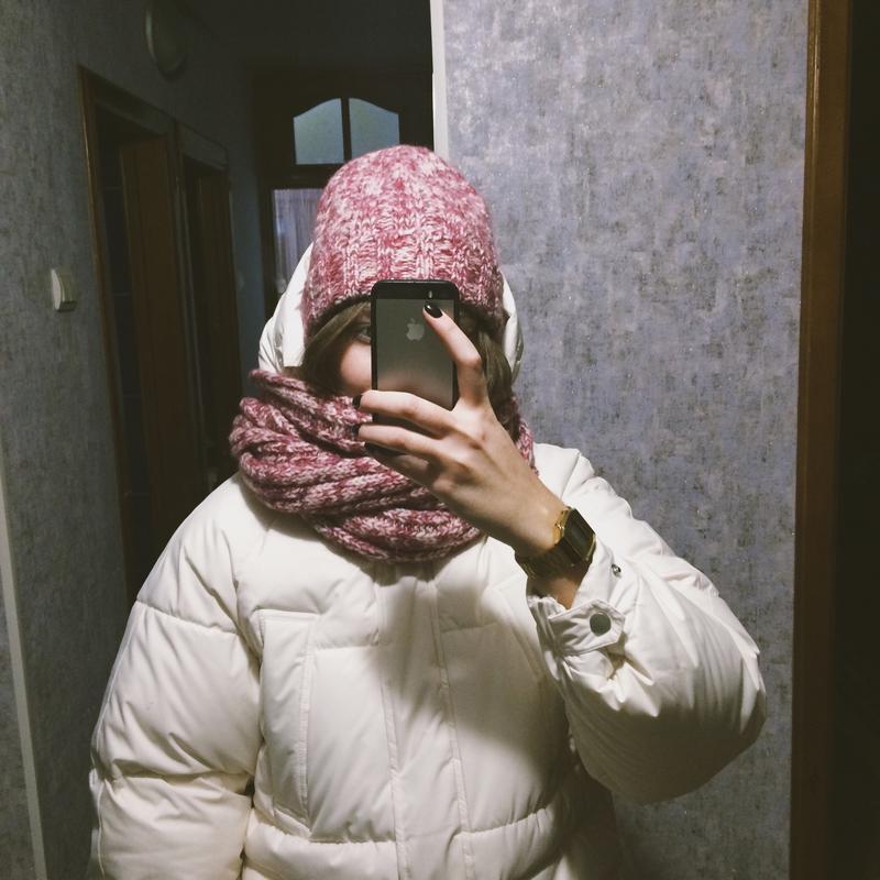 Комплект шапка и шарф розовый - Фото 2