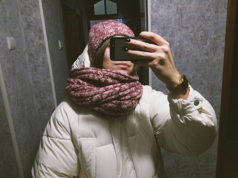 Комплект шапка и шарф розовый - Фото 3