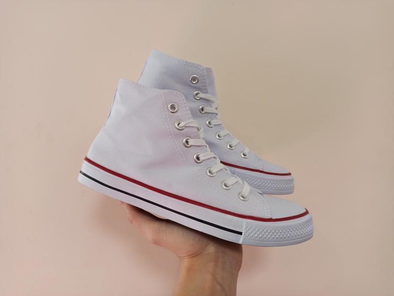 Высокие белые кеды кроссовки с резиновым носком текстильные - Фото 2