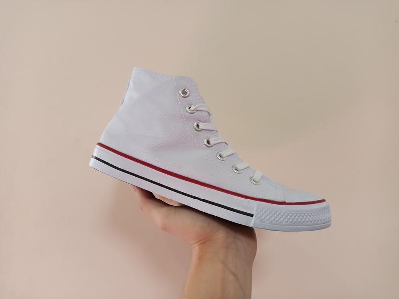 Высокие белые кеды кроссовки с резиновым носком текстильные - Фото 3