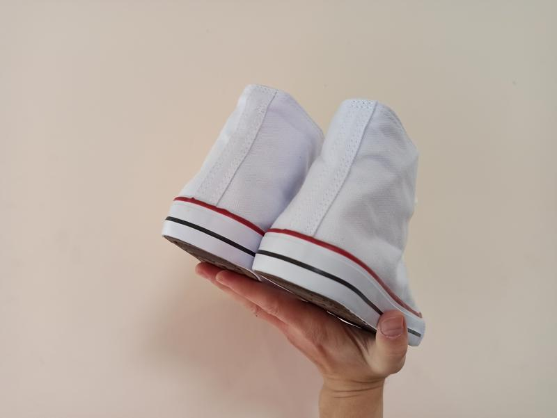 Высокие белые кеды кроссовки с резиновым носком текстильные - Фото 4