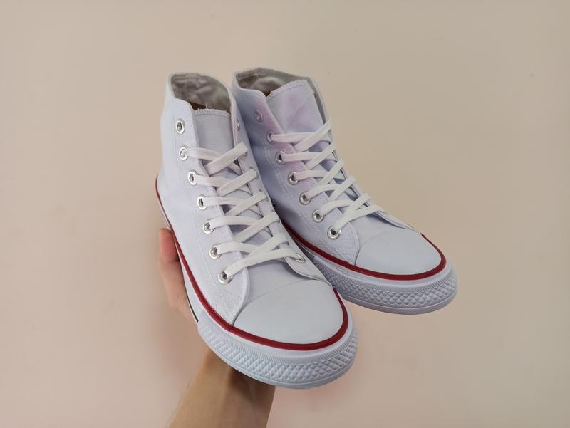 Высокие белые кеды кроссовки с резиновым носком текстильные - Фото 5
