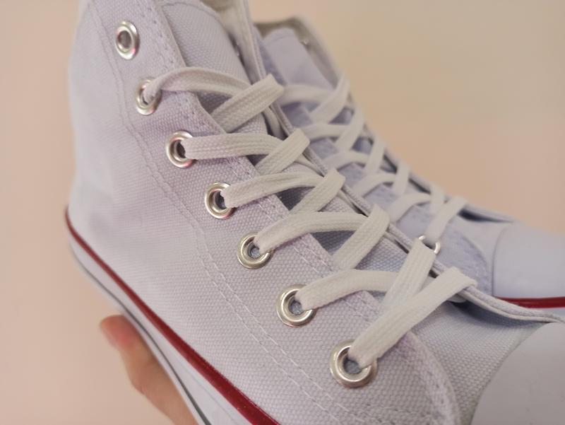 Высокие белые кеды кроссовки с резиновым носком текстильные - Фото 6