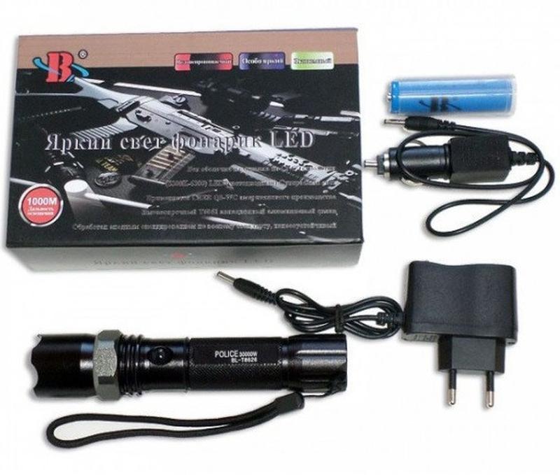 Тактический Аккумуляторный Фонарик Bailong POLICE BL-8626 Мета...