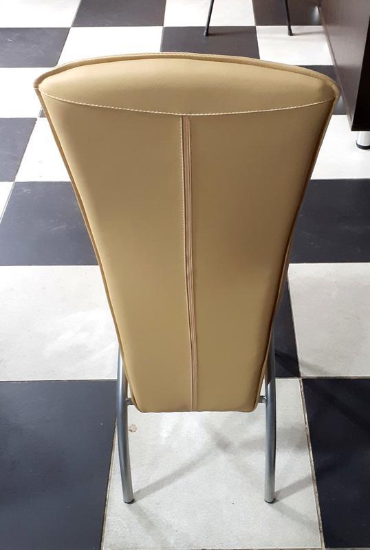 Стул барный, цвет каркаса - алюминий, цвет обивки сидения бежевый - Фото 5