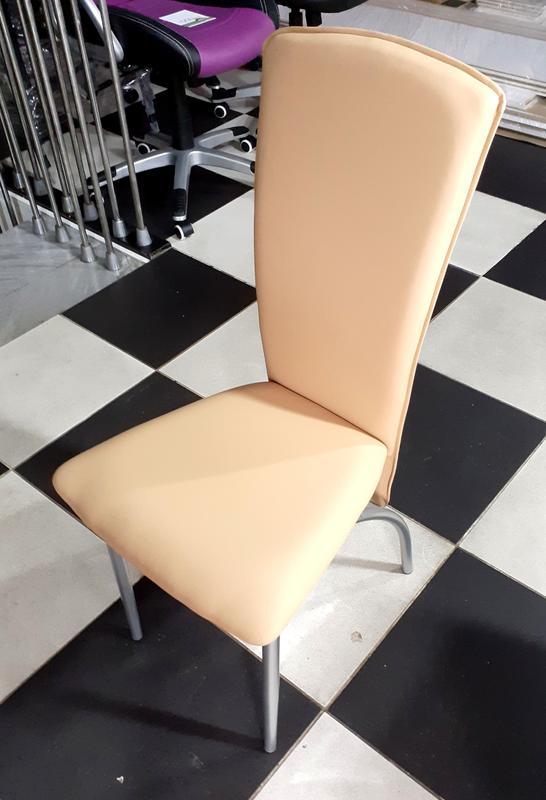 Стул барный, цвет каркаса - алюминий, цвет обивки сидения бежевый - Фото 3