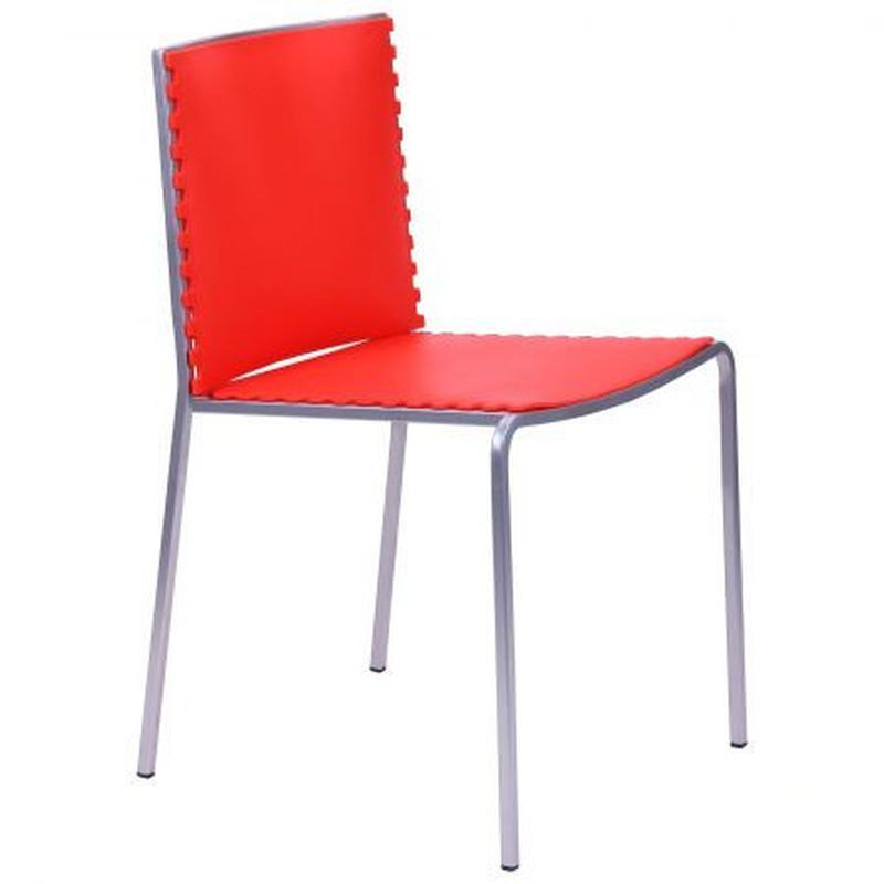 Стул барный моноблок, цвет каркаса - алюм, цвет обивки - красный - Фото 2
