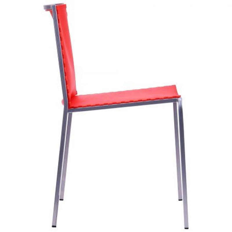Стул барный моноблок, цвет каркаса - алюм, цвет обивки - красный - Фото 3
