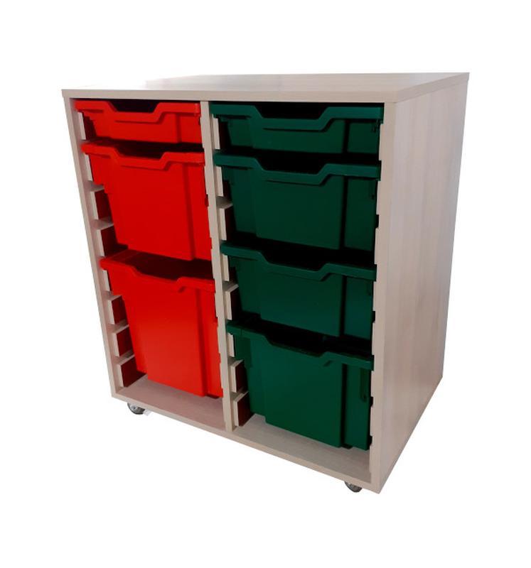 Органайзер Gratnells с лотками красными и зелеными, Дуб Шамони - Фото 2