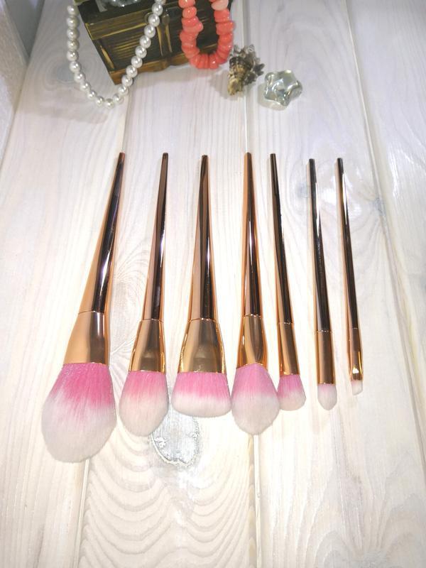 Кисти для макияжа gold/pink набор 7 шт probeauty - Фото 7
