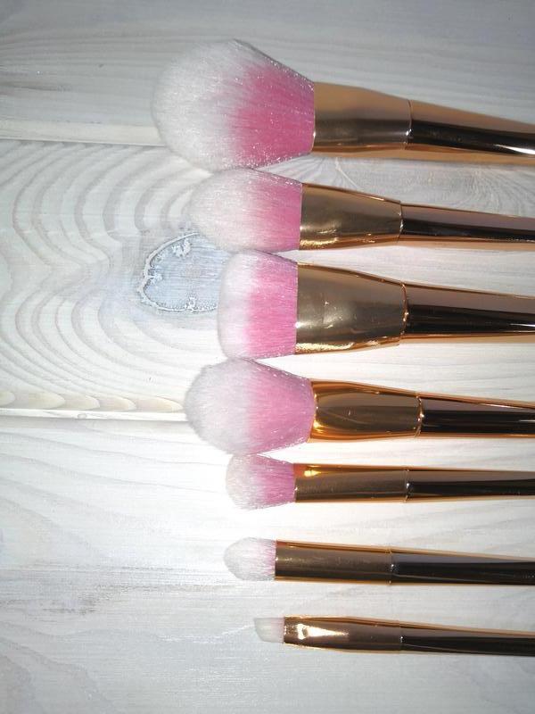 Кисти для макияжа gold/pink набор 7 шт probeauty - Фото 9