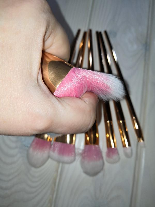 Кисти для макияжа gold/pink набор 7 шт probeauty - Фото 10