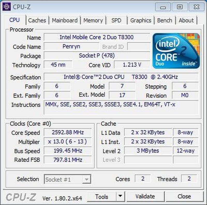 Процессор Intel Core 2 Duo T8300 (2.40 GHz) + термопаста - Фото 2