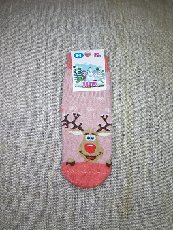 Детские носки махровые новогодние с оленями коралловые на 3-6 лет
