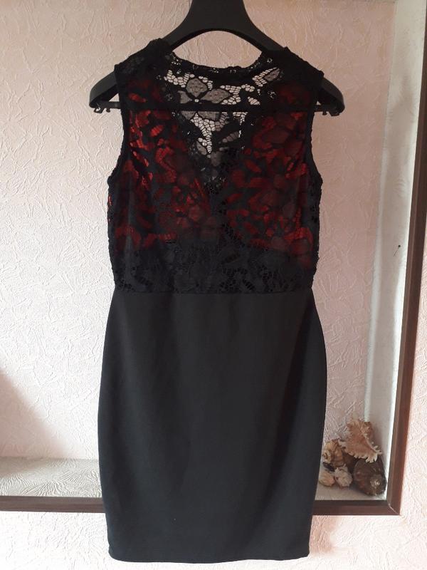 Женское вечернее нарядное кружевное черное платье футляр клубн... - Фото 4