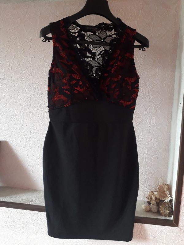 Женское вечернее нарядное кружевное черное платье футляр клубн... - Фото 6