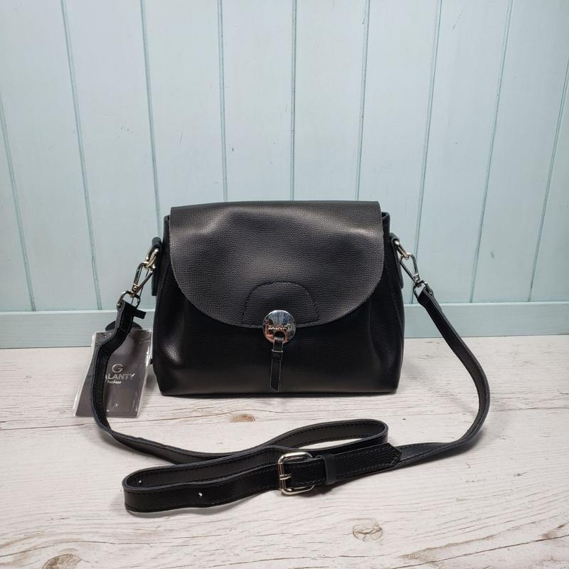 Женская кожаная сумка через плечо чёрная galanty жіноча шкірян...