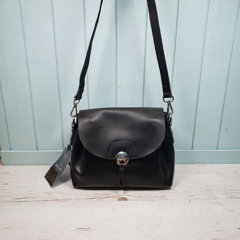 Женская кожаная сумка через плечо чёрная galanty жіноча шкірян... - Фото 2
