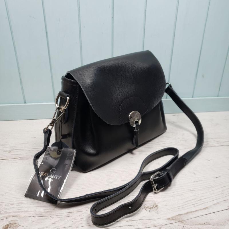 Женская кожаная сумка через плечо чёрная galanty жіноча шкірян... - Фото 3