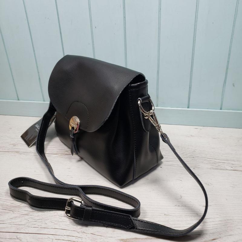 Женская кожаная сумка через плечо чёрная galanty жіноча шкірян... - Фото 4