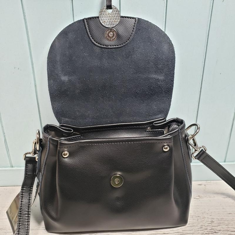 Женская кожаная сумка через плечо чёрная galanty жіноча шкірян... - Фото 6