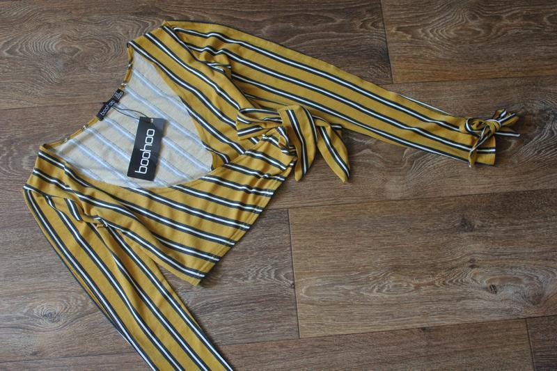 Полосатая кофта блуза топ на запах от boohoo - Фото 3