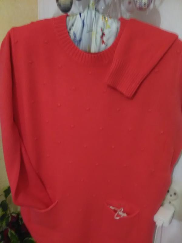 Суперова коітинка-пуловер ягідно-коралового кольору - Фото 3