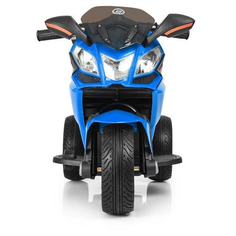 Детский мотоцикл M 3912 EL-4, кожаное сиденье, синий - Фото 4