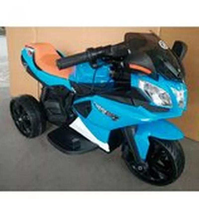 Детский мотоцикл M 3912 EL-4, кожаное сиденье, синий - Фото 5