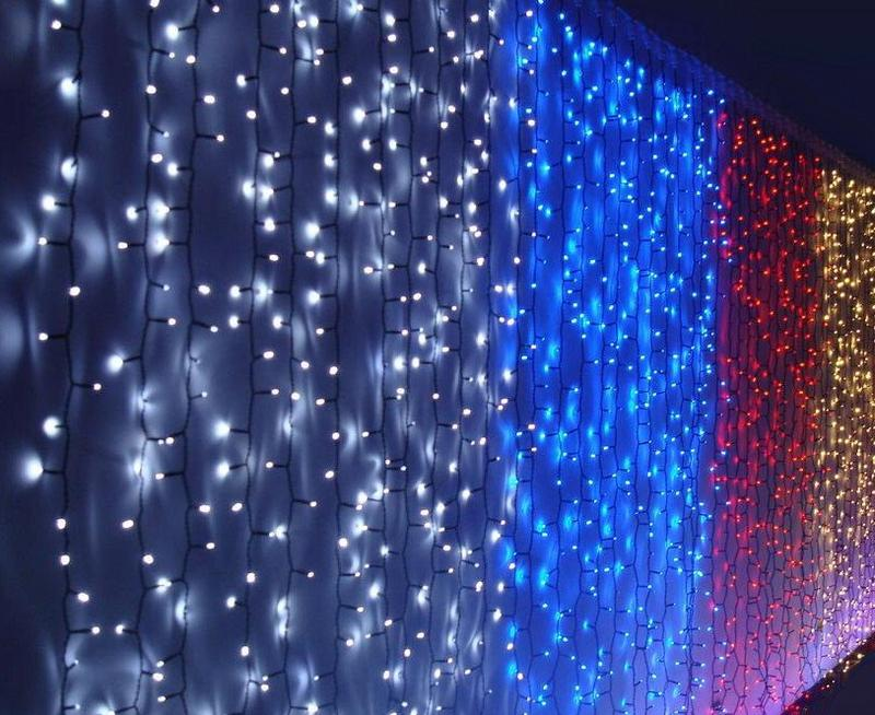 Гирлянда LED ВОДОПАД уличная, занавес, стена, штора, разные цвета - Фото 3
